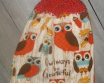 Crochet Top Hanging Kitchen Printed Dishtowel Retro Owls Acorns Pin Oak Leaves 'Owlways be Grateful' *No Button/Button* Handmade by HCF&D