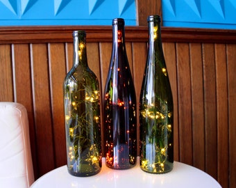 Two Recycled Wine Bottle Lights - Wine Bottle Lamp - Wine Decor - Wine Gifts - Lighted Wine Bottle - Gifts for Her - Wedding Gift