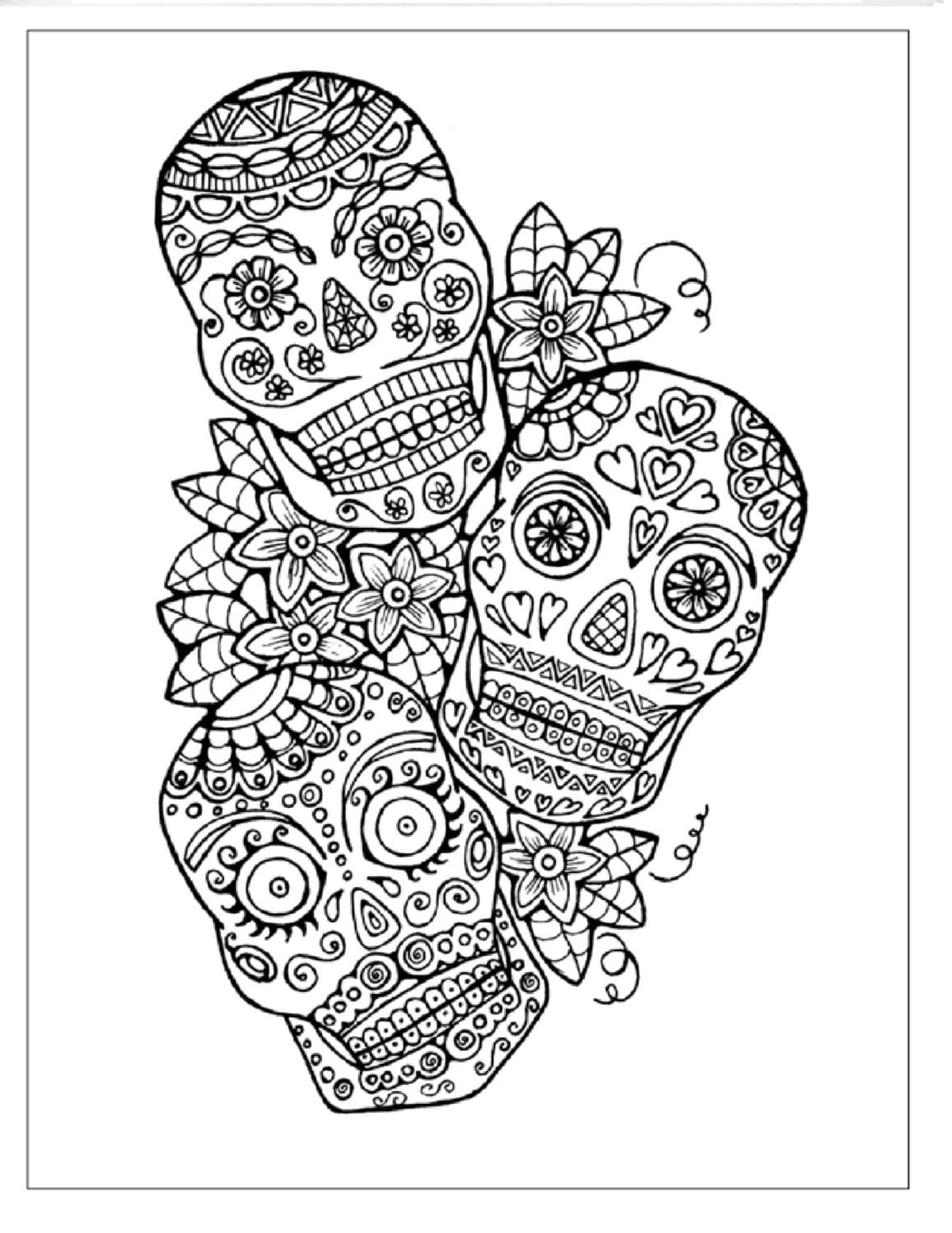This is a photo of Sweet Printable Sugar Skull Coloring Pages