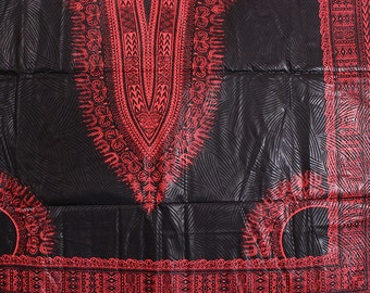 6 Yards Wholesale Black and Red Dashiki African fabric/ Wholesale Dashiki Print Fabric/ African Fabric Shop/ African Fabrics