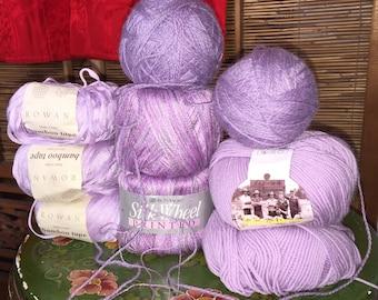Purple and lavender yarn lot Rowan, Grand Merino, Silk Wheel -- 9 skeins