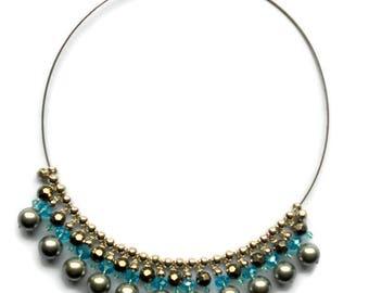 beadweaving jewelry  pendant necklace white beaded bead pendant