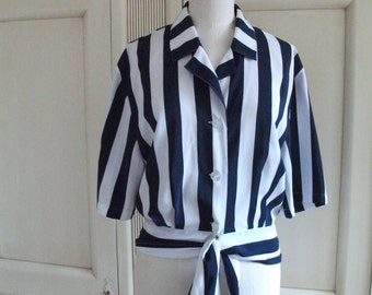 80s Navy Blue & White Nautical Blouse - Ties to hug the hips - By quality 80s label Yarrell Size 10