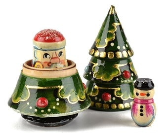 Christmas Tree Russian Nesting Doll 3 Pieces (Tree, Santa, Snowman) Handmade Wooden Toy Decoration Unique Gift!
