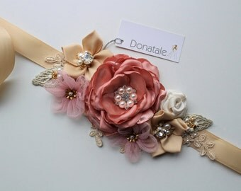Bridal Sash, Bridal belt,Wedding Sash,Gold Champagne Pink Blush Wedding Belt Flower Sash Vintage Style Bridal Sash -ANNIE