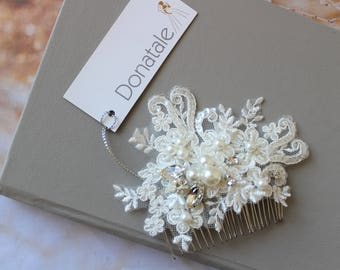 Small Bridal hair comb,  Pearl Crystal  Wedding hair comb , Bridal Hair Accessory, Hair comb, Lace hair comb, Wedding hair piece