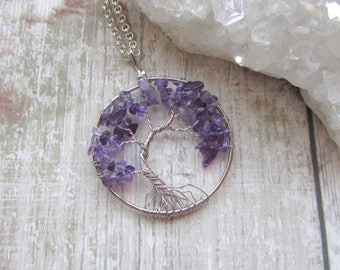 Offset Amethyst Gemstone Tree Of Life Pendant Necklace, Silver Plated