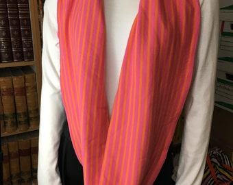 Cotton Pink and Orange Stripe Infinity Scarf, Circle Scarf, Loop Scarf
