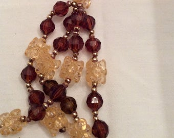 """Beads, Vintage Beads, 1980's Beading """"Fad"""", Apricot and Topaz Colored Plastic Beads, Tassel Necklace"""