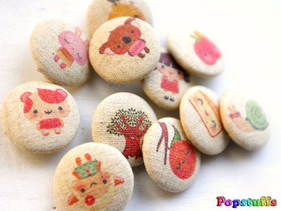 12pcs - 25mm Fabric Button Set - Nice Cartoon (FB12-25)