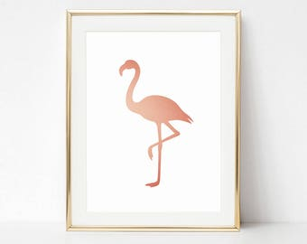 Rose Gold Print, Coral Pink Flamingo Printable, Baby Girl Print, Flamingo Nursery Poster, Gold Pink Printable, Baby Room Nursery Poster