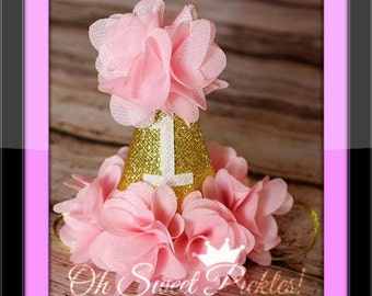 PRINCESS Baby Pink 1st Birthday Hat - Made 2 Match Our Tutus - Perfect For Photo Shoots, Birthdays, Holidays etc