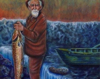 Uncle Willie - Digital Download of Portrait of Fisherman with Canoe