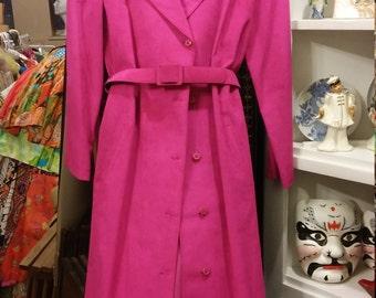Hot pink ultra suede coat.