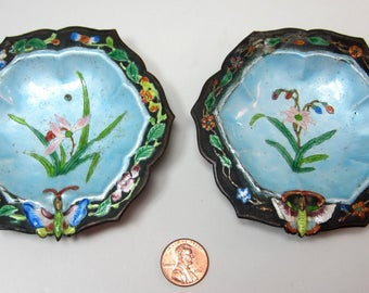 "Pair antique Chinese enamel plates 3"" 1/2"