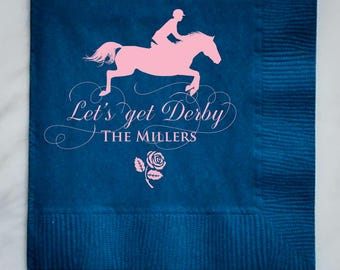 Let's Get Derby Personalized Party Napkins, Customizable Kentucky Derby Napkins, Derby Jockey, Kentucky Derby Party, Party Napkins