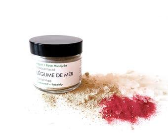 LÉGUME DE MER Facial Mask. Seaweed Mask. 100% Natural. Vegan. Gentle Exfoliation Mask. Rosehip + Sea Salt + Mutani Miti clay