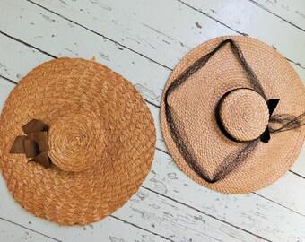 Antique, STUNNING! 1940's, Wide Brimmed, Straw, Flying Saucer, Women's, Formal Hat