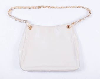 Authentic Prada White Leather Purse w/ Abalone Shell Strap