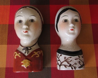 Ceramic Head Vase Set of 2 Vintage Primitive Folk Art Victorian Ladies Bust Hanging Wall Pocket Handpainted Glazed Pair Girl Dolls Bonnet