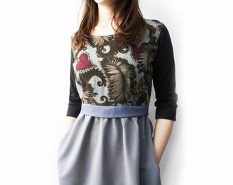 Empire waist dress with 3/4 sleeves, grey dress, women's high waist dress, dress with pockets, casual dress for women