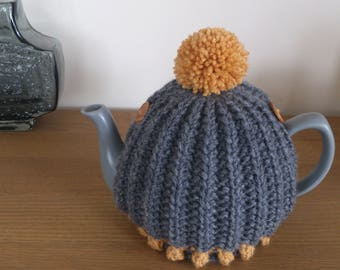 Grey / Mustard hand knitted tea cosy with bobbles and pompom - to fit a Size 6 CUP (1.2 Litre) teapot - READY to SHIP
