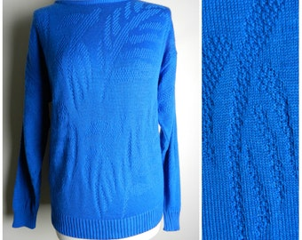 80s COBALT blue acrylic LEAF pattern ribbed crew neck jumper sweater M ~ L