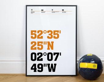 Wolverhampton Wanderers Football Stadium Coordinates Posters