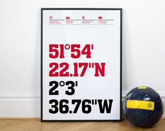 Cheltenham Town Football Stadium Coordinates Posters