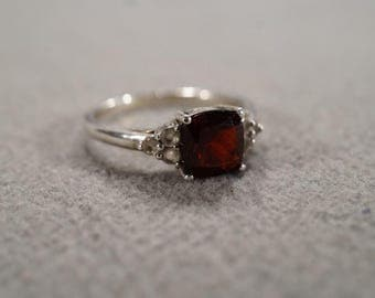Vintage Sterling Silver Band Ring Prong Set  Square Garnet 6 Round Diamond, Size 9