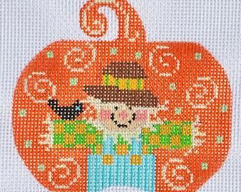 Needlepoint Handpainted Halloween Danji Scarecrow Pumpkin 3x3 -Free US Shipping!!!