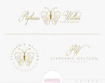 Luxury Butterfly Logo- Premade Photography Logo and Watermark, Classic Elegant Script Font GOLD GLITTER butterfly children Calligraphy