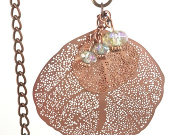 Copper leaf jewelry, Copper leaf necklace
