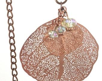 Leaf Necklace, Copper, Leaf Jewelry, Leaf, Necklace, Filligree Leaf Necklace, Filligree Necklace, Copper Filligree