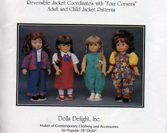 School Days, Too - Sewing pattern by Doll's Delight - Jumper, romper, jacket - 18 inch dolls 1993