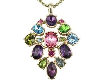 Rhinestone Pendant Necklace, Long Thin Gold Chain Necklace, Long Gold Necklace, Long Rhinestone Necklace, Colorful Rhinestone Necklace