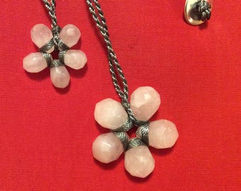 Pink rose quartz pendant necklace gray silk cord