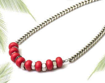 Red silicone necklace, beaded silver chain red necklace, industrial  red necklace, nulika