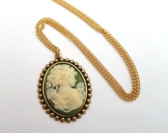 Cameo necklace, vintage style green and ivory cameo in antique gold setting