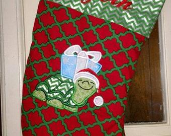 Christmas turtle personalized stocking christmas stocking turtle themed