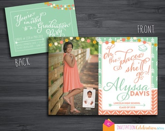 Oh the Places - Graduation Invitation - Now and Then w/ Baby Picture - Arrows - Boho - Mint - Coral - Choose DIGITAL or PRINTED w/ Envelopes