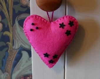 Pink Felt Heart Hanging Ornament - Pin Cushion