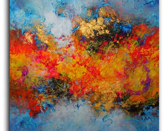 Large Abstract  ART . Original abstract painting by Alex Senchenko . Created in 2017.  Ready to hang . 100% Hand-Made.