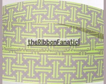 "5 yds 7/8"" Yellow Grey Gray Lattice Work Geometric. Grosgrain Ribbon"