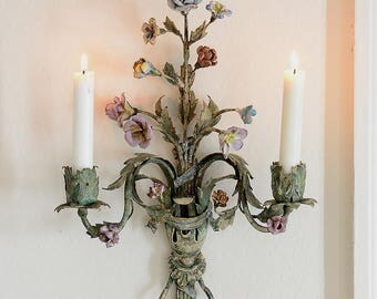 Amazing Antique French Porcelain Flower Tole Metal Sconce