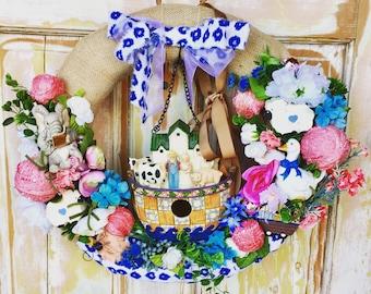 SALE  Noah's Ark wreath; Nursery room wreath; Baby's room wreath; Animal wreath; Baby gift