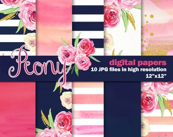 Peony Inspired Digital Watercolor Papers, 10 Navy and Pink Watercolor Digital Papers Hand Painted, Stripes