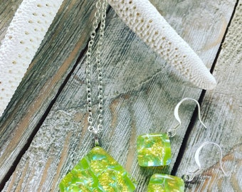 Dichroic glass pendant and earring set. Nickel free ear wires.