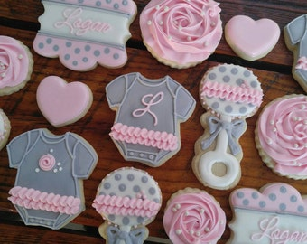 Pink and Grey Baby Shower Cookies