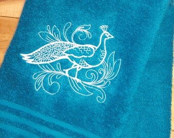 PEACOCK Towels ~ Embroidered Bird Hand towels~ peacock Bath towels ~ towel sets ~ Personalized Towel~ Choose Your Colors